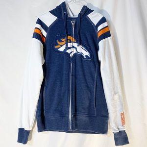 Majestic Denver Broncos Hoodie Size M Blue/White